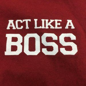Kids Red White Hoodie Act Like A Boss Short Sleeve
